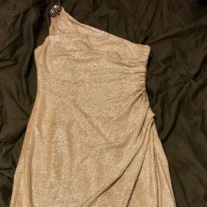 Maggy London Glitter and Gold One Shoulder Dress